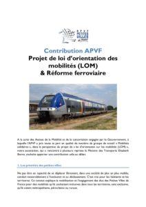 Note technique - Mobilité/Ferroviaire : Contribution écrite de l'APVF - mai 2018