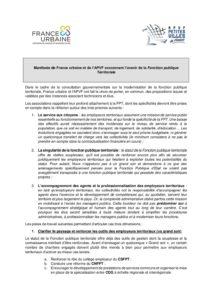 Manifeste de France urbaine et de l'APVF concernant l'avenir de la Fonction publique Territoriale - mai 2018