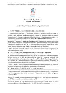 Note d'analyse - Rapport Bur-Richard sur la fiscalité locale - mai 2018