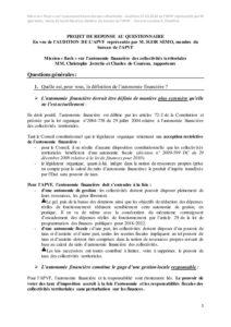 Note audition -  Autonomie financière des collectivités territoriales - mai 2018