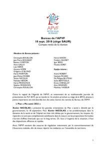 Bureau de l'APVF 18 sept. 2018 (siège SAUR) - Compte rendu de la réunion