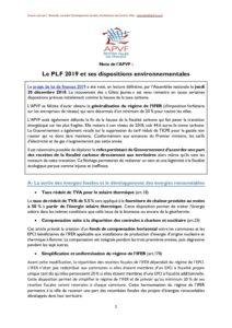 Le PLF 2019 et ses dispositions environnementales