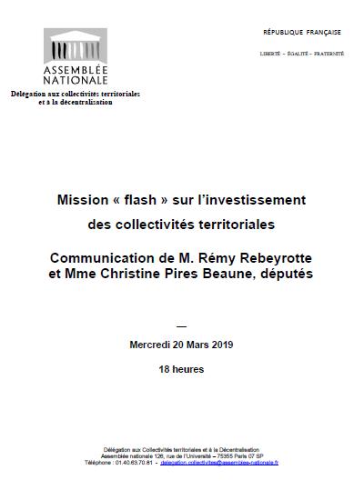 Mission « Flash » investissement local : l'Assemblée nationale a publié son rapport