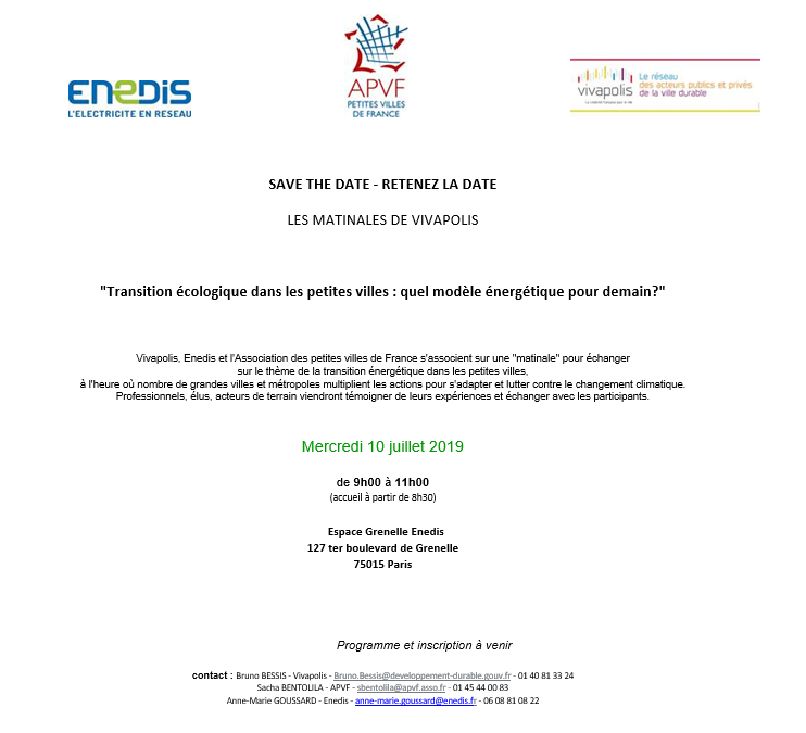 """[INVITATION ] 10 Juillet """"Transition écologique dans les petites villes : quel modèle énergétique pour demain?"""""""
