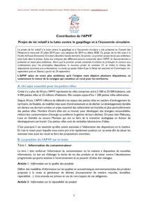 Position APVF  : Projet de loi relatif à la lutte contre le gaspillage et à l'économie circulaire