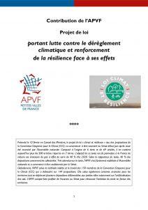 PJL climat et résilience : le positionnement de l'APVF - octobre 15