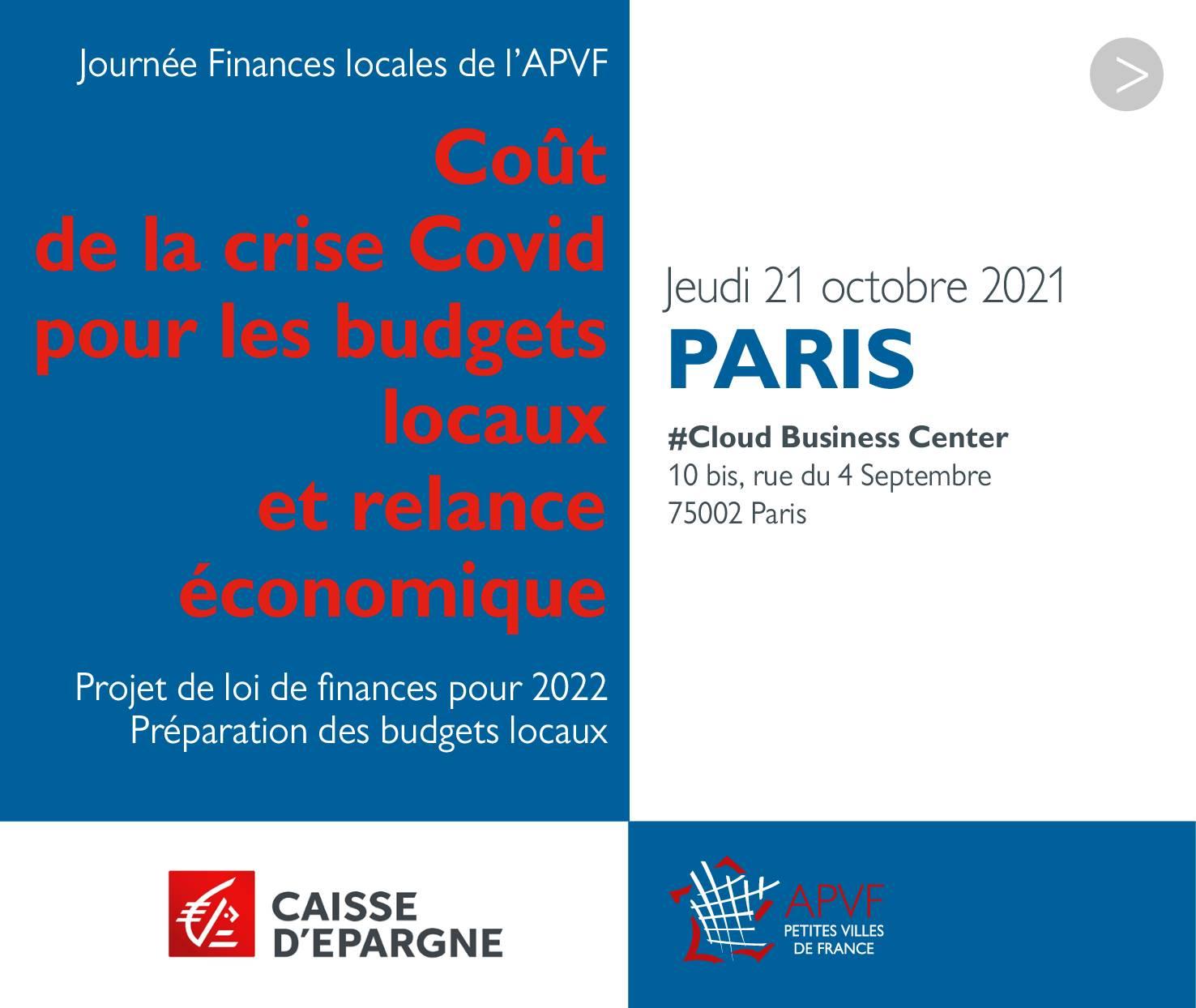 """SAVE THE DATE 21 octobre - Journée des finances publiques : """"Coût de la crise Covid pour les budgets et relance économique"""""""